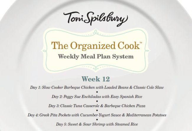 The Organized Cook Weekly Meal Plan
